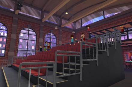 virtuaalitodellisuudessa luentosali ja hahmoja